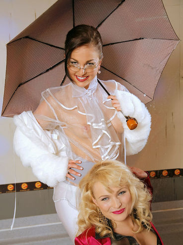Rebecca and Billy Raise strip down to their revealing blouses under umbrella and then get wet