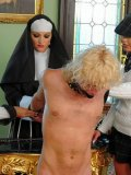 Nun Gina Killmer makes student girls Rachel Evans and Gioia Biel have fun with blond slave boy