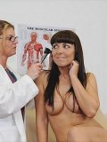 Round titted busty brunette milf Maria Bellucci gets totally nude in the doctor's office