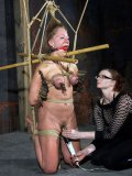 Ball gagged blonde Dia Zerva with big breasts finds herself in rope bondage