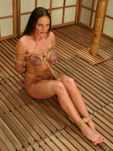 Big breasted seductive brunette Venus stands still as master ties her up