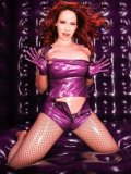 Flirtatious latex babe Bianca Beauchamp shows off her big beautiful rubber covered boobs