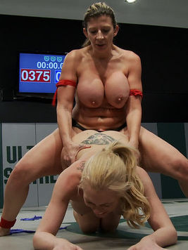 Blonde and slim Samantha gets to wrestle Sin Sara Jay and get to rub her during cat fights.