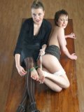 Evelina Letton gets her ankles tied together and her feet tickled by Lady K