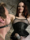 Rope bound man Wild Bill gets seriously punished by domina Claire Adams in stockings