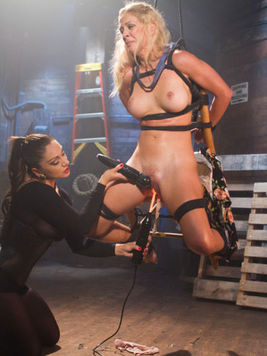 Blonde Cherie DeVille teased and drilled up with kinky toys while in fetish with  Lea Lexis.