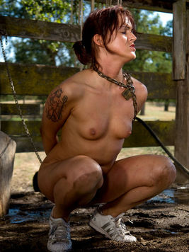 Sexy bodied nude girls Sara Faye and Claire Dames get humiliated outdoors by farmer Lobo