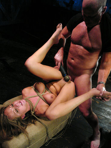 Brutal Mark Davis fucks mouth and asshole of tied up busty sex slave Sophia Gently