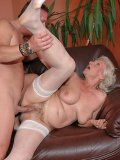 Silver haired granny Norma in white stockings dildos her cunt then gets banged