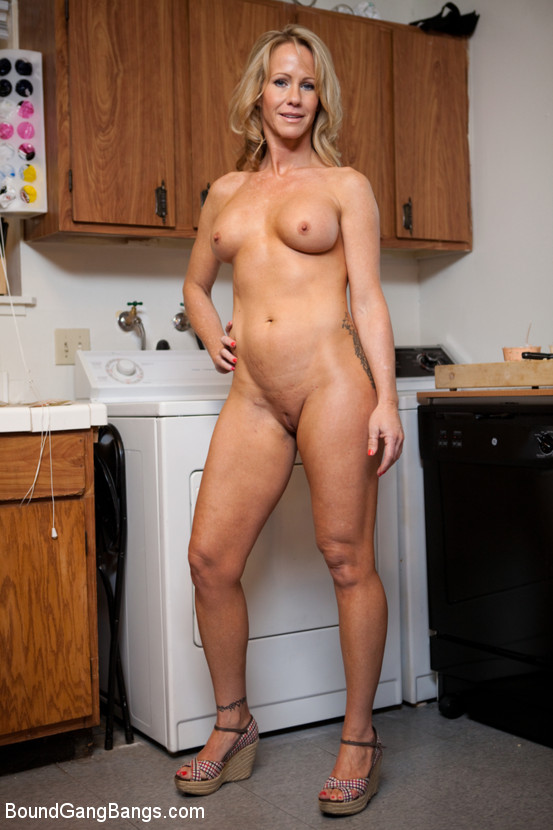 Blonde chick gangbanged in a bar 5