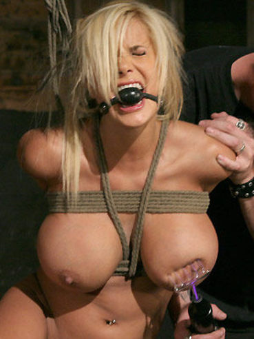 Yummy slave blonde Shyla Stylez gets her DD's, round ass and bald pussy punished hard