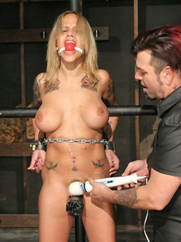 Bound big breasted bondage blonde Regan Reese feels pain when master plays with her snatch