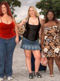 Elegant fattie Ivy Dreams and her clothed plump busty friends pose in the street