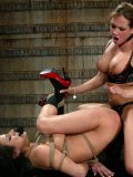 Bound Nadia Styles gets her nipples tortured and her holes stretched by lesbian domme Tory Lane