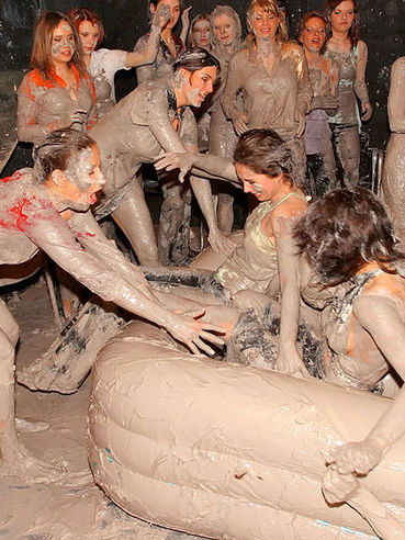 Angelina Sweet fights in the mud at the all girl party losing her clothes