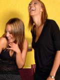 Yazmin and her giggling friend have fun exploring man's really small dick