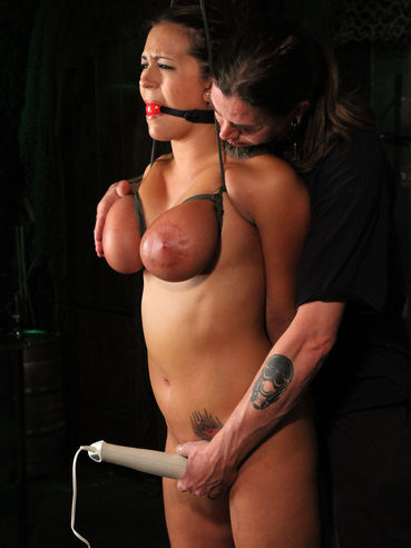 Bound brunette Trina Michaels with huge breasts gets her bare snatch vibrated as hard as possible
