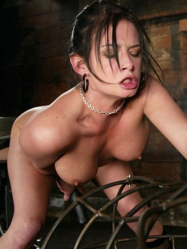 Hot blooded brunette in boots Tory Lane gets used to death by love machine
