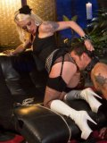 Lorelei Lee gets into a kinky 69 with her muscular, tattooed lover during femdom.