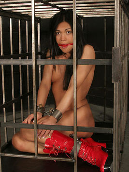 Slave girl Alyssa Reece in red boots get tied to cage with vibrator between her legs.