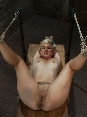Rope tied small titted blonde Chloe Camilla gets her holes ruthlessly punished