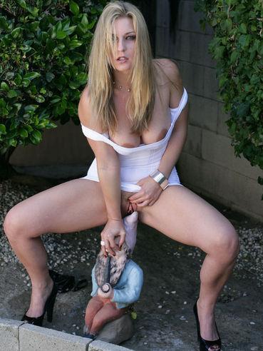 Leggy blonde Avy Scott in white mini dress shows it all at the poolside