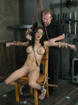 Raven haired busty latina Nadia Styles gets her smooth pussy and ass drilled in bondage