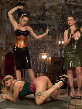 Bella Rossi in BDSM getting slit stretched and filled with kinky tools with her favorite gals.