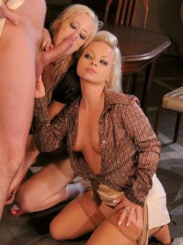 Sharka Blue and another sexy clothed blonde beg for cock, sex and urine