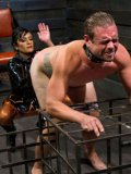 Slutty guy loves having his small cock stepped on by a latex goddess Beretta James.