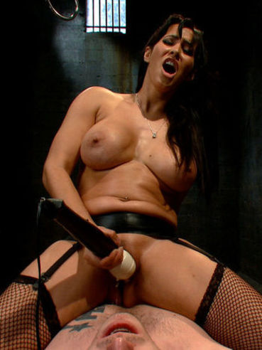 Sassy doll Isis Love puts the rope and pins on slave's cock and then makes him give her pleasure