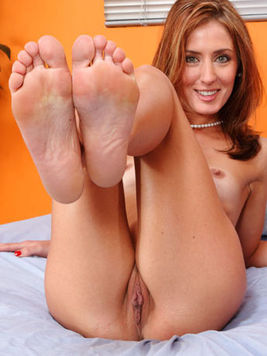 Skinny small titted redhead Sheena Shaw gets her feet and pussy fucked by thick meat pole