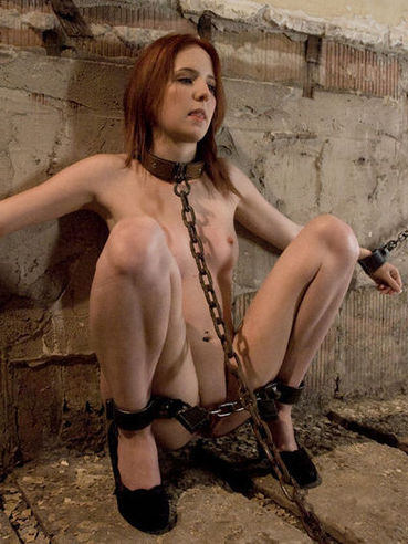 Cute red-haired slave girl Megan Murray gets hook in her ass and James Deen's cock in her pussy