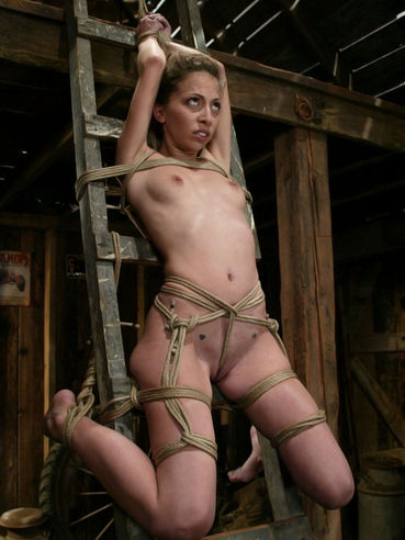 Rope tied bondage girl Veronica Jett with adorable tight body gets her nipples tortured