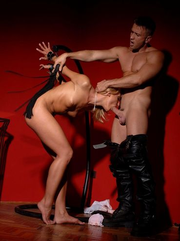 Nude bald pussy blonde Greta gets her beautiful ass spanked then gives head to master.