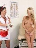 Lesbian brunette nurse licks and fingers cute asshole of her shaved blonde patient Sammie Rhodes