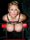 Caged chubby blonde Samantha 38G with monster tits exposes her amazing thick body