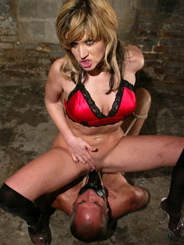 Middle aged tied man gets punished by dom Tyla Wynn that loves facesitting and CBT