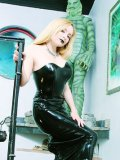 Pale skinned goth blonde Aiden Starr with nice ass takes off her long latex dress
