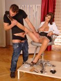 Conny Nublies polishes her man's shoes and then receives his cum on her seamed nylon stockings