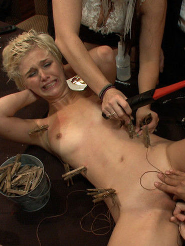 Slave blonde Chloe Camilla gets fucked in every hole in public at bondage party