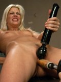 Amazing blonde with natural boobs Jessie Volt gets her shaved pussy fucked with a sex machine.
