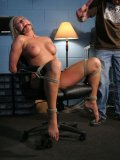 Long haired man punishes naked tied curvacious blonde Skylar Price in the office