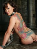 Petite bald pussy asian slave girt Jandi Lin with color tattoo on her back gets water punishment