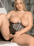 Blonde fattie Ivy Dreams gets her big boobs out and flashes her pussy outdoors