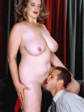 Fat woman Raunchy Roxie in red blouse and black skirt gets nude for handsome psychologist