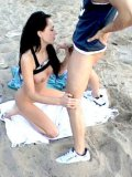 Brunette Celia Jones with big tits and long legs gets her pussy hammered in public place