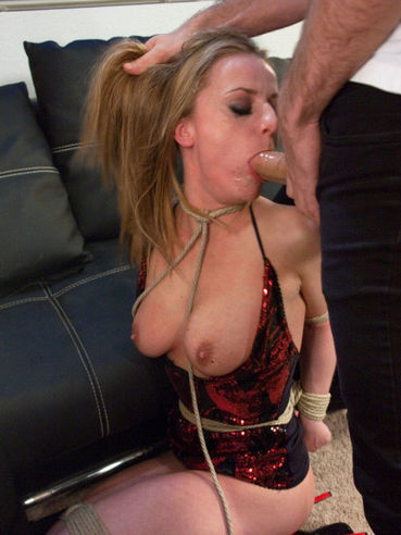 Slutty chick Denice Klarskov with plump boobs gets fucked in the ass and mouth hard.