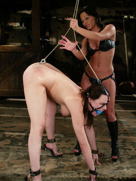 Bondage slave Sandra Romain rimjobing and licking up and servicing Dana DeArmond hot body.
