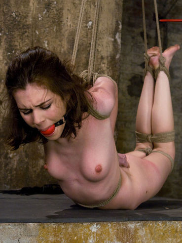 Rope bound lesbian slave Isobel Wren gets pain in her toy filled vagina